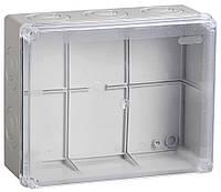 Коробка КМ41278 распаячная для о/п 240х195х165 мм IP55 (RAL7035, прозр. кр., кабельные вводы 5 шт)