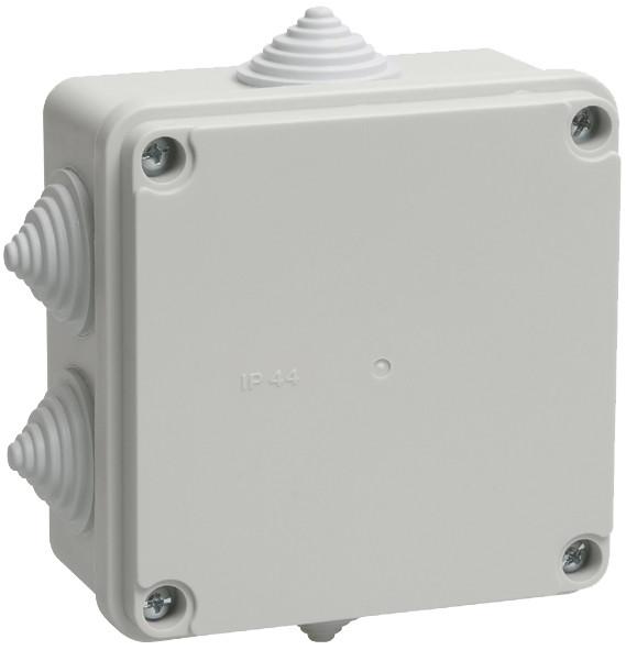 Коробка КМ41234 распаячная для о/п 100х100х50 мм IP55 (RAL7035, 6 гермовводов)