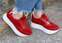 Красные кроссовки на высокой подошве. Новинка осень 2017 года. Натуральная кожа 1141