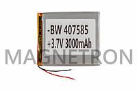 Аккумулятор литий-полимерный BW 407585P 3,7V 3000mAh 76x86mm