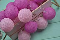 """Тайская гирлянда из хлопковых шариков """"Розовые мечты"""", фото 1"""