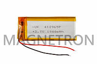 Аккумулятор литий-полимерный UK 412965P 3,7V 1000 mAh 27x65mm