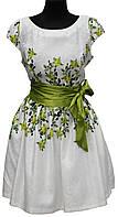 Белое нарядное платье, с зеленым атласным поясом, розы, размеры 36, 40, Турция