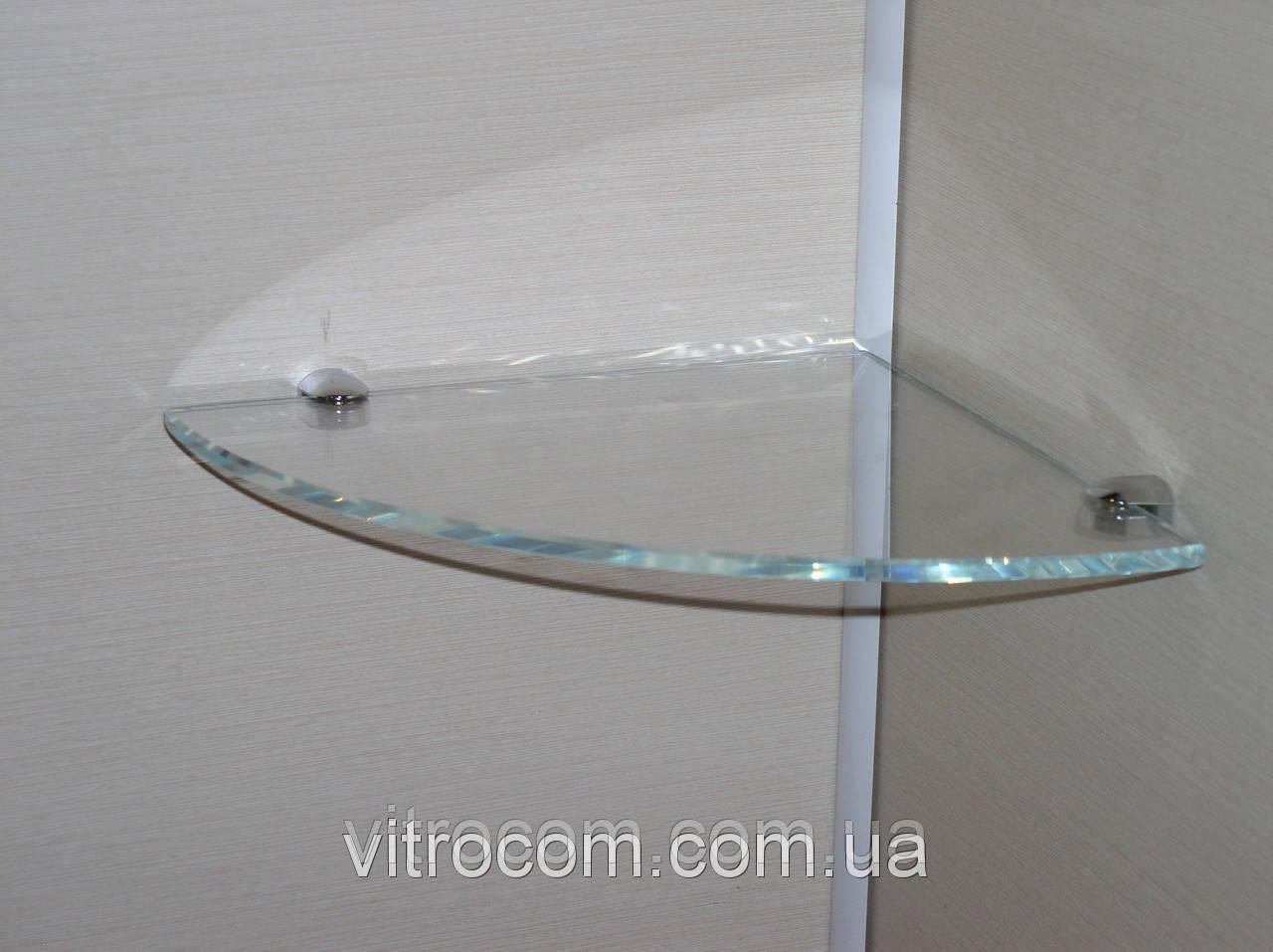 Полка стеклянная угловая 6 мм диамант 25 х 25 см