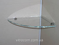 Полка стеклянная угловая 6 мм диамант 25 х 25 см, фото 1