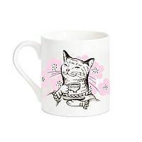 """Кружка в подарок девушке """"Кошка с чаем"""",  размер XL"""