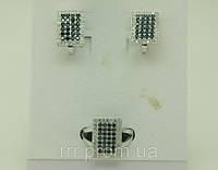 Комплекты ювелирной бижутерии серьги с кольцом в стразах 93
