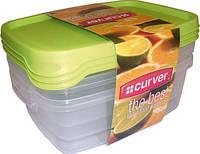 Набор емкостей для пищевых продуктов 3 шт по 1,2 л, оранжевый/зеленый/прозрачный THE BEST Curver 176069