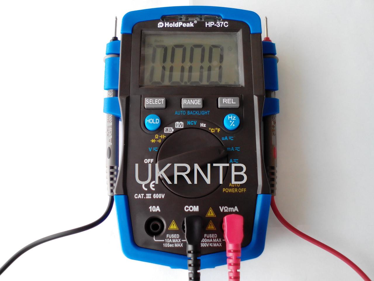 Мультиметр / Тестер HP-37C з автоматичним вибором діапазонів, True RMS, тест акумуляторів/батарейок, NCV