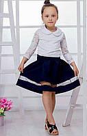 Детская пышная юбка со вставкой евросетки