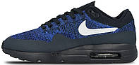 Мужские кроссовки Nike Air Max 1 Ultra Flyknit Dark Obsidian (найк аир макс) синие/черные