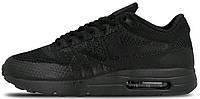 Мужские кроссовки Nike Air Max 1 Ultra Flyknit Triple Black (найк аир макс) черные