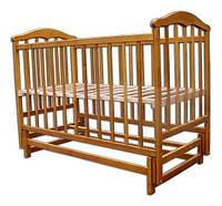 """Деревянная кроватка """"Chayka"""" без ящика для детей (лакирован., 120Х60, два уровня, маятник) ТМ Ласка-М Натуральный"""
