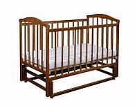 """Деревянная кроватка """"Chayka"""" без ящика для младенца (лакирован., 120Х60, два уровня, маятник) ТМ Ласка-М Тонированный"""