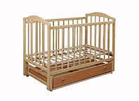 """Деревянная кроватка """"Chayka"""" с ящиком для новорожденных (лакирован., 120Х60, два уровня, маятник) ТМ Ласка-М Тонирован."""