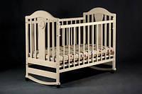 """Деревянная кроватка """"Napоleon New"""" без ящика для детей (120Х60, два уровня, полозья, колеса) ТМ Ласка-М Ваниль"""