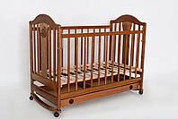 """Деревянная кроватка """"Napоleon  New"""" без ящика для детей до 5 лет (120Х60, два уровня, полозья, колеса) ТМ Ласка-М Орех"""