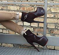 Эффектные женские темно-коричневые ботильоны Papilon, экокожа+экозамша