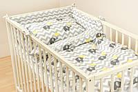 Простынь на резинке детская в кроватку- Слоники