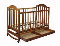 """Деревянная кроватка """"Napоleon"""" с ящиком для ребенка (120Х60, два уровня, полозья, колеса) ТМ Ласка-М Тонированный"""