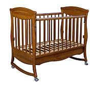 """Деревянная кроватка """"Gracia"""" без ящика для малышей (120Х60, два уровня, полозья, стопорные колеса) ТМ Ласка-М Орех темн."""
