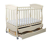 """Модная детская деревянная кроватка """"Gracia"""" с 2 ящиками (120Х60, два уровня, полозья, стопорные колеса) ТМ Ласка-М Белый"""