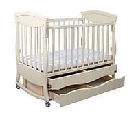 """Детская деревянная кроватка маятник """"Gracia"""" с 2 ящик. (120Х60, два уровня, полозья, стопорные колеса) ТМ Ласка-М Ваниль"""