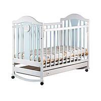 """Детская деревянная кроватка """"Napоleon  New"""" с ящиком для новорожденного (120Х60, полозья, колеса) ТМ Ласка-М Голубой"""