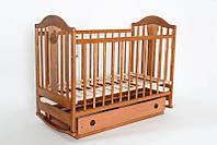 """Детская деревянная кроватка """"Napоleon  New"""" с ящиком (120Х60, два уровня, полозья, колеса) ТМ Ласка-М Орех"""