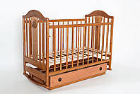 """Детская кроватка """"Napоleon New"""" с ящиком (деревянная, 120Х60, два уровня, поперечный маятник, колеса) ТМ Ласка-М Орех"""