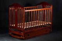 """Детская кроватка """"Napоleon New"""" с ящиком (деревянная, 120Х60, два уровня, поперечный маятник, колеса) ТМ Ласка-М Орех т."""
