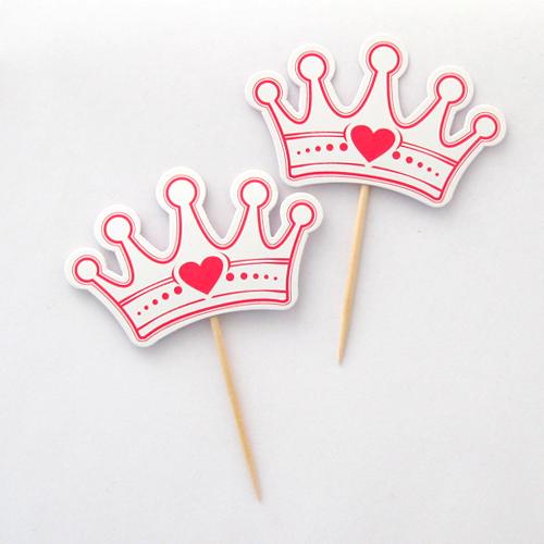 Топперы для капкейка принцесс Корона 8 шт