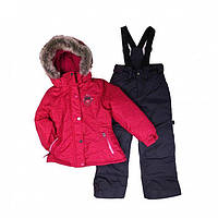 Зимний термокостюм для девочки 6-8 лет (куртка и полукомбинезон), р. 116-134 ТМ Peluche&Tartine 66 EF M F16 DK Raspberry