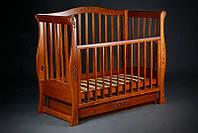 "Красивая кроватка для новорожденных ""Viva Glamour"" с ящ. (дерев., 120Х60, два уровня, маятник) ТМ Ласка-М Орех"