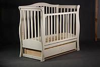 """Кроватка для новорожденных """"Viva Luxury"""" с ящ. (дерев., 120Х60, два уровня, маятник. механизм качания) ТМ Ласка-М Ваниль"""