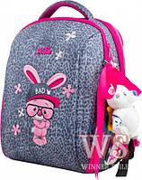 Рюкзак Delune 7-127 ортопедический школьный для девочек на два отдела рюкзак для сменной обуви, мишка