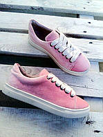 Стильные кеды розовые женские текстиль бархата яркие цвета разные