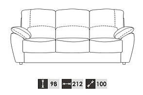 Прямой кожаный диван DALLAS (212 см), фото 2