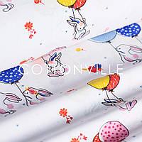 Хлопковая ткань Зайчата с шариками на белом