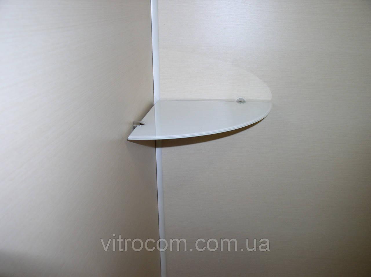 Полка стеклянная угловая 5 мм белая 20 х 20 см