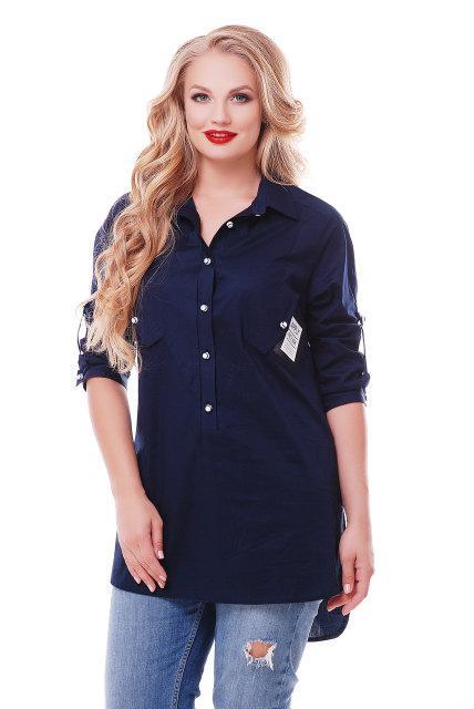 Женская рубашка Стиль цвет синий размер 48-58