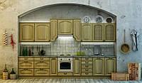Кухня МОНТРО (RODA): имеет фасад из массива ольхи с эффектом состаренной патины