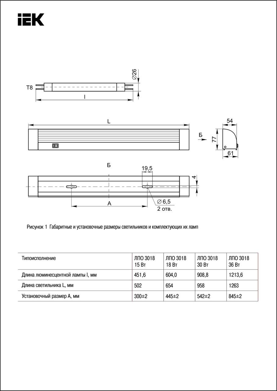 Светильник ЛПО3018 30Вт 230В T8/G13 ИЭК