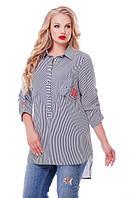 Женская рубашка Стиль цвет черно-белый размер 48-58