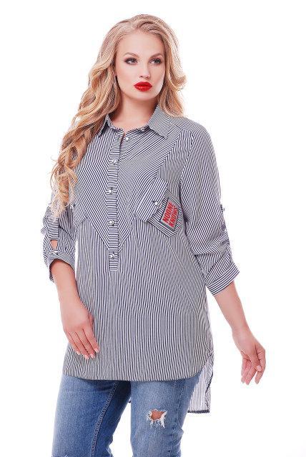 d2c9f170e16ef Я-Модна - купить Женская рубашка Стиль цвет черно-белый размер 54,56 ...