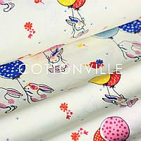 Хлопковая ткань Зайчата с шариками на экрю