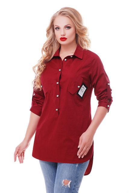 Женская рубашка Стиль цвет бордо размер 48-58