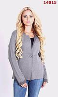 Короткий женский кардиган пиджак машинная вязка