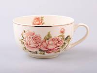 Большая фарфоровая чашка 400 мл Lefard Корейская роза 86-974-1