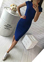 Классическое миди (48-52) платье с коротеньким рукавчиком